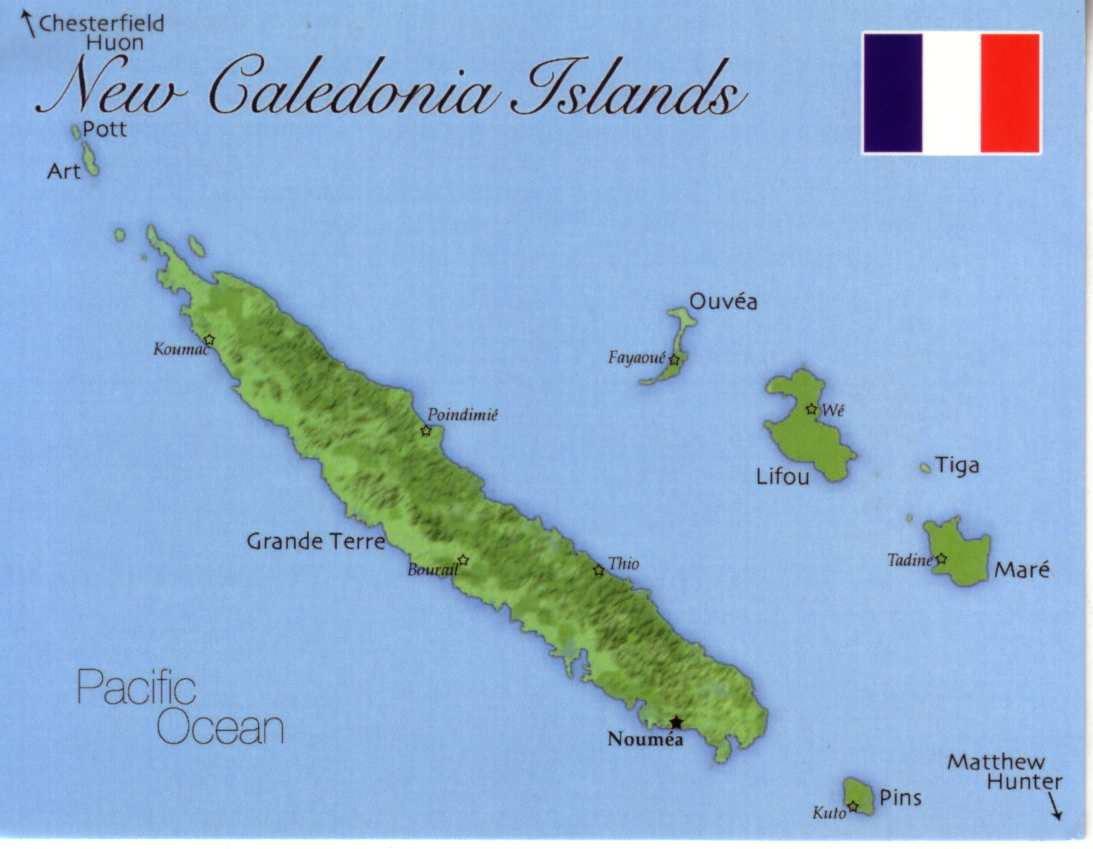 Map of New Caledonia Islands (France)