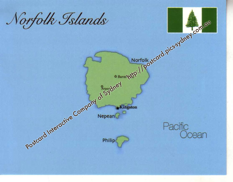 Map of Norfolk Island Territory 100 Postcard Interactive